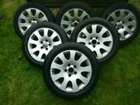 6x Audi A6 A4 16 inch Alloy wheels with tyres