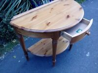 Wooden half moon console tsble or side table well made by Ducal