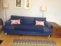 2 Habitat sofas with feather cushions