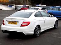 MERCEDES-BENZ C CLASS C180 1.6 BLUEEFFICIENCY AMG SPORT PLUS 2dr 154 BHP (white) 2012