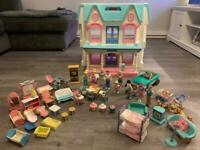 Fisher Price Loving Family Dream Dolls House with furniture, dolls, Cars, Bikes
