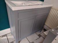 Brand New 800mm Melbourne Earl Grey Double Door Vanity Unit - Floor Standing (damaged - repaired)
