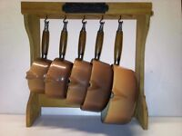 Vintage Le Creuset Nutmeg 5 Pan Set with wooden stand