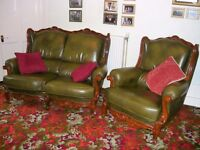 2 seater and matching chair in green leather with light mahogany trim