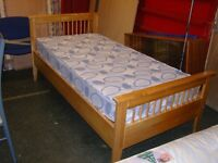 Single Solid Pine Bed and Mattress. Very Good Condition