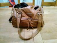 Brown leather Vinchi changing bag