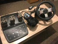 Logitech G27 Gaming Racing Wheel with 3 pedals and geatshifter
