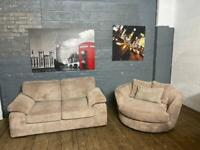 HARVEYS FABRIC SOFA AND CUDDLE SWIVEL ARMCHAIR IN EXCELLENT CONDITION