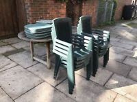 8 Garden Chairs with Cushions from JOHN LEWIS Very Comfortable to Sit in Armrest Stackable Chair VGC