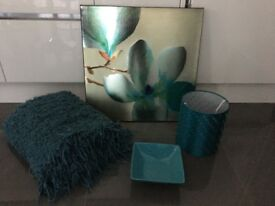 Teal home accessories - canvas, throw, lampshade