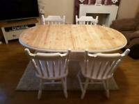 Pine shabby chic extending table and chairs