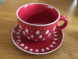 Large Novelty Christmas Cup & Saucer