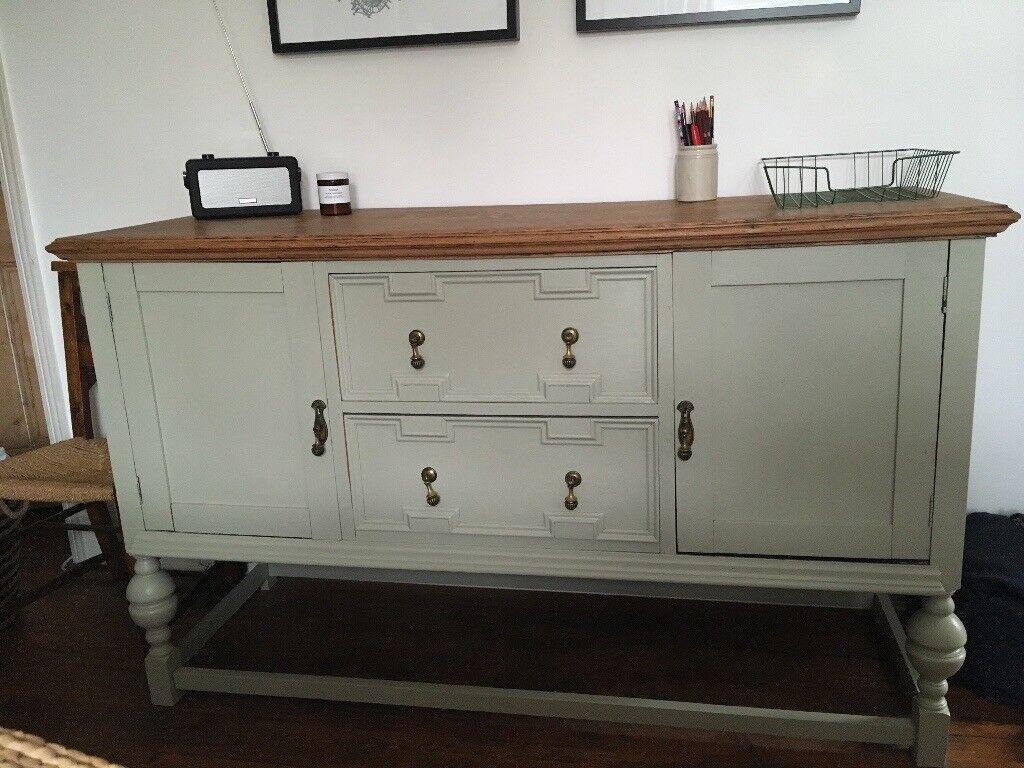 Vintage Oak Sideboard Painted French Grey Farrow Ball In Ilkley