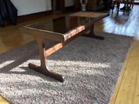 Solid Wood Coffee Table With Glass + Slate