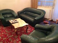 Green Leather Sofas - 3 Seater and 2 Armchairs