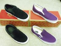 Vans Classic Slip Ons. Size 5. True White Purple Black Suede. New and Boxed