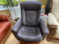 Dark Brown Leather recliner and stool