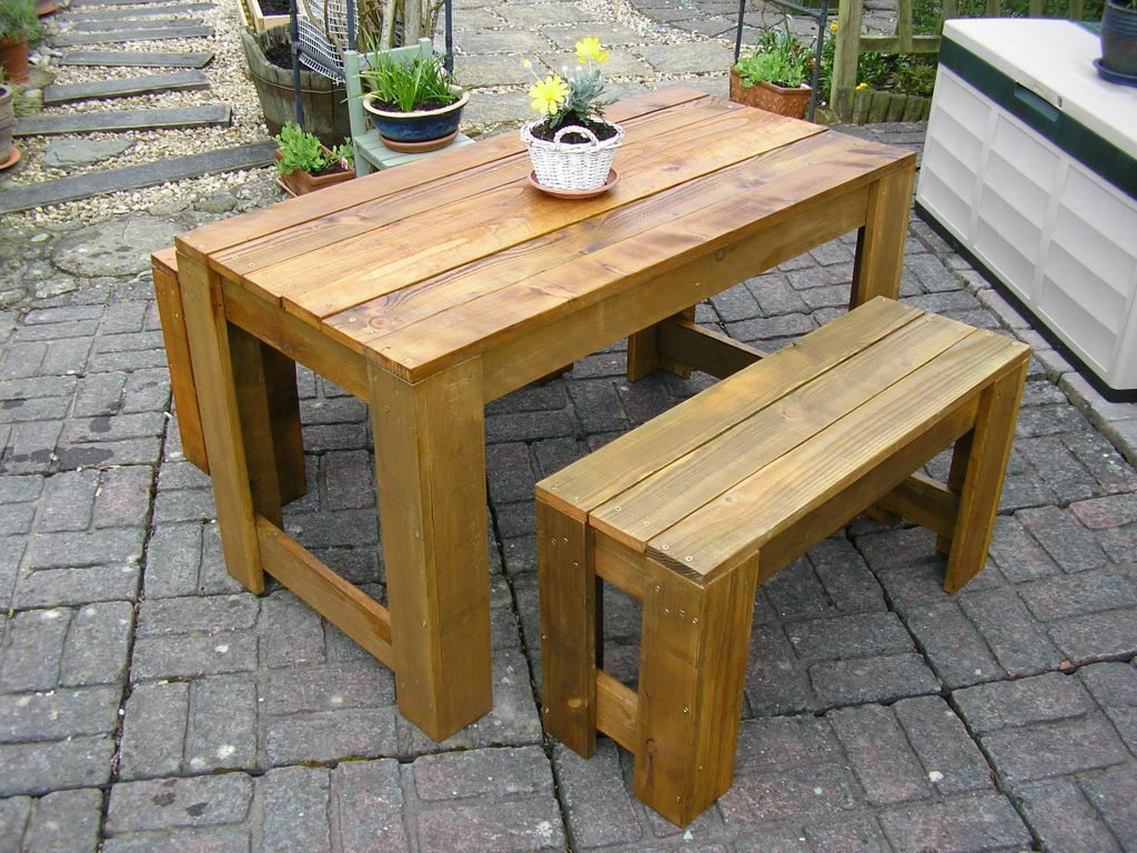Handmade Rustic Patio Garden Table And Benches
