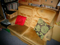 TWO SEATER SOFA + ONE MATCHING ARMCHAIR (1 LOT) GOLD / BEIGE COLOUR