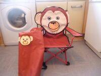 Childs folding camp/garden chair monkey head with storage bag