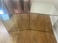 Mirrored Furniture cube side table Bedside table