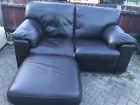 Leather 2 seater sofa with stool-£80 delivered