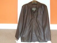 LEATHER BUTTON FASTENING JACKET IN BROWN. MADE BY HIDEPARK. MEDIUM.