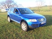 VW Touareg, 2.5TDi Semi Auto. 55. MOT & Serviced. Leather Metallic Blue