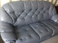Leather 3 Seater Sofa Grey leather for sale
