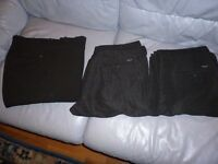 three men's brand new black trousers (one black)(two patterned black)36 inch waist,lovely quality...