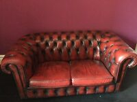 CHESTERFIELD 2 seater OXBLOOD leather sofa