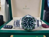 New boxed with papers set silver bracelet green face green bezel Rolex submariner with automatic