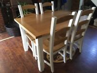 Solid oak topped Dining/Kitchen table and four chairs