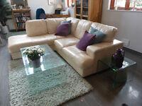 Cream leather left hand chaise corner unit £195