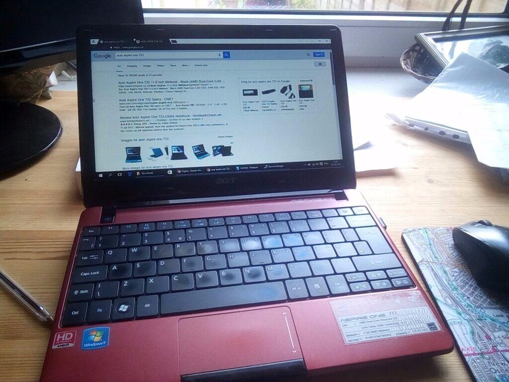 Acer Aspire One 722 C62rr 320GB 4GB RAM Windows 10 Office Starter