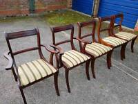5 solid wood mahogany dining table chairs in very good condition