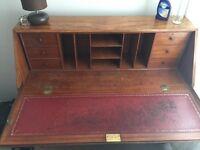 Beautiful solid wood vintage Bureau/ letter writing desk with storage