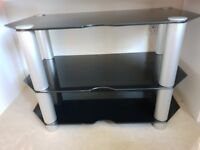 Black glass and silver metal TV stand