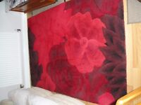 Gorgeous Red floral wool rug 6 foot by 4 foot .Real statement piece !