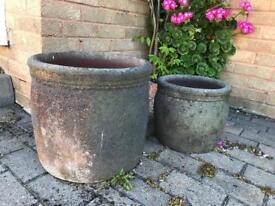 2 plant pots, looks like volcanic rock