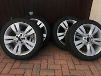 Mercedes 17 inch alloy wheels with winter tyres