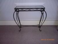 Black Wrought Iron Glass Top Table
