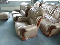 Large Lot of Leather & Wood Furniture 3+2+1+1+Foot Stool