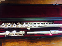 Yamaha silver plated flute model 281 S II- In-line G - open holes. Made in Japan.