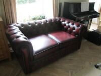 Chesterfield Sofa Bed, ox blood leather, 2 person seating, 1 person bed, very good condition