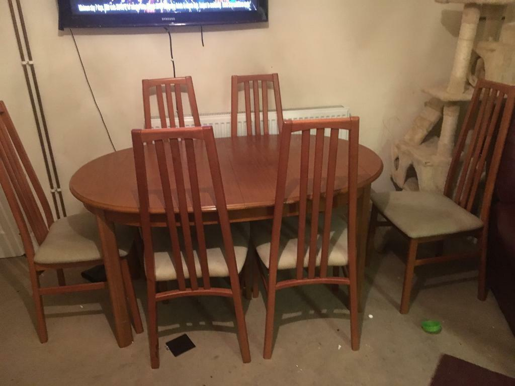 Extendable table and six chairs teak in Norwich  : 86 from www.gumtree.com size 1024 x 768 jpeg 64kB