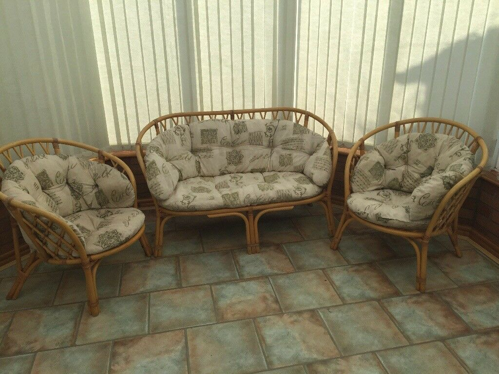 Cane Conservatory Furniture One Sofa And Two Chairs