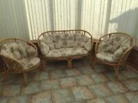 CANE CONSERVATORY FURNITURE (ONE SOFA AND TWO CHAIRS)