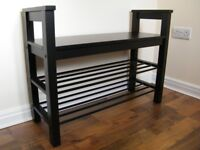 IKEA Hemnes black-brown shoe bench (85x32x65cm) and hat rack (85x34x40cm) set for sale.