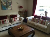 2 beautiful Laura Ashley beige velvet sofa's